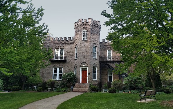 The battlement roof line is what gives Warner Castle its authentic fortress silhouette.