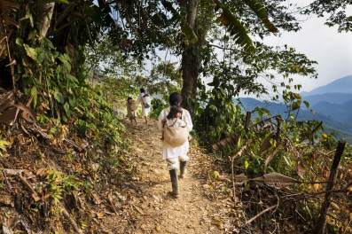 A Kogi family trekking