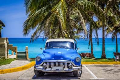 Cuba vintage car beach