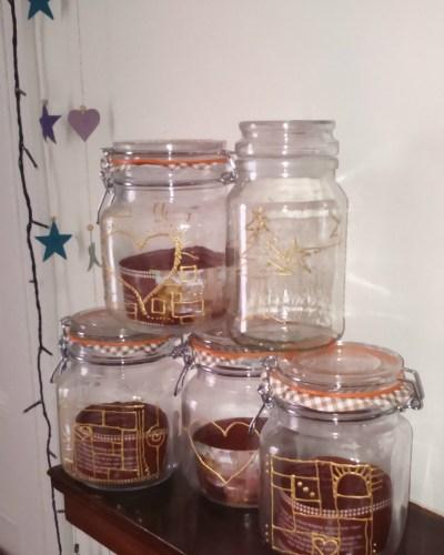 diy gift christmas idea glass jar decorate decoration embelish embelishment  design present pebeo paste 3d creative