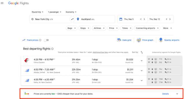 google flights prices