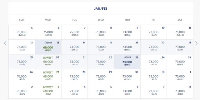 skymiles price calendar 1