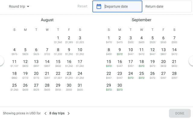 save on airfare calendar