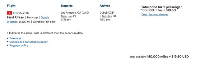 Emirates Alaska Booking Screenshot