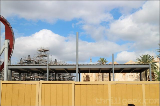 Work has continued on the Hogsmeade train station with new metal work appearing