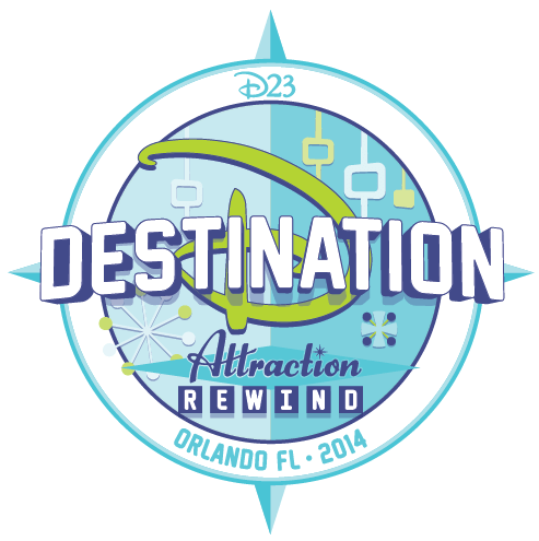 The new D23 Destination D: Attraction Rewind logo for 2014