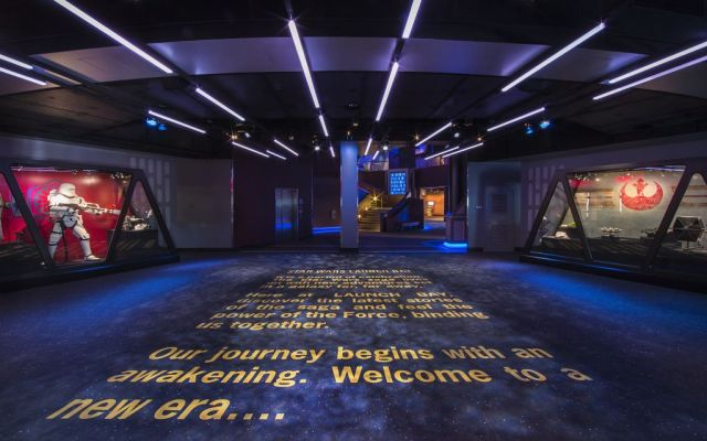 STAR WARS LAUNCH BAY -- In the heart of Tomorrowland, Star Wars Launch Bay is the central locale for guests to celebrate all things Star Wars. Disneyland park guests are welcomed to this multi-sensory space with the iconic phrase, ÒA long time ago in a galaxy far, far away.ÉÓ Once inside, they may encounter beloved Star Wars characters, play the latest Star Wars interactive video games, explore galleries full of treasured memorabilia and authentic replicas of large-scale Star Wars artifacts, step into a Star Wars-themed cantina, and have access to Star Wars merchandise. (Paul Hiffmeyer/Disneyland Resort)