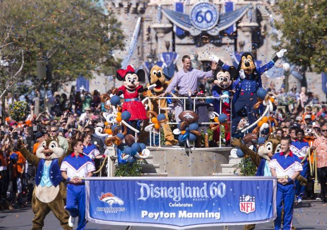 (February 8, 2016) In honor of the Denver Broncos' unforgettable victory in Super Bowl 50, the Disneyland Resort saluted quarterback Peyton Manning with a champion's parade down Main Street, U.S.A. at Disneyland Park in Anaheim, Calif., on Monday. Some favorite Disney characters joined the parade as Manning rode in a float with his children, Mosely and Marshall. (Paul Hiffmeyer/Disneyland Resort)