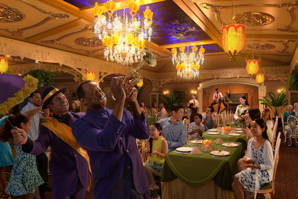 """Exclusive to the Disney Wonder, Tiana's Place restaurant is inspired by Princess Tiana from the Disney animated feature, """"The Princess and the Frog."""" The new restaurant will transport guests to an era of southern charm, spirited jazz and street party celebrations. Influenced by southern-style cuisine, chefs will cook up Tiana's recipes, drawing inspiration from the flavors and ingredients of the Louisiana bayou. (Photo illustration, Disney)"""