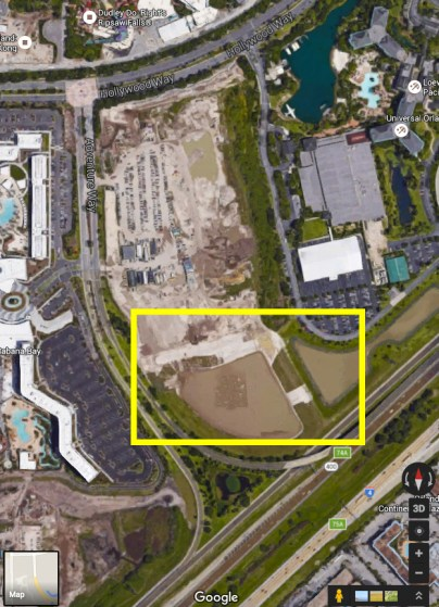 Area in yellow is rumored location of sixth Universal Orlando hotel