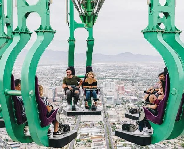 Do you dare look down from the Skypod's thrill rides in Las Vegas?
