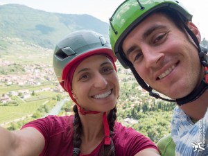 Climbing the mega multi-pitch, Zanzara, in sunny Arco