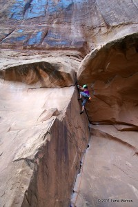 Ilana leading Bad Moki Roof (5.9), Moab, UT
