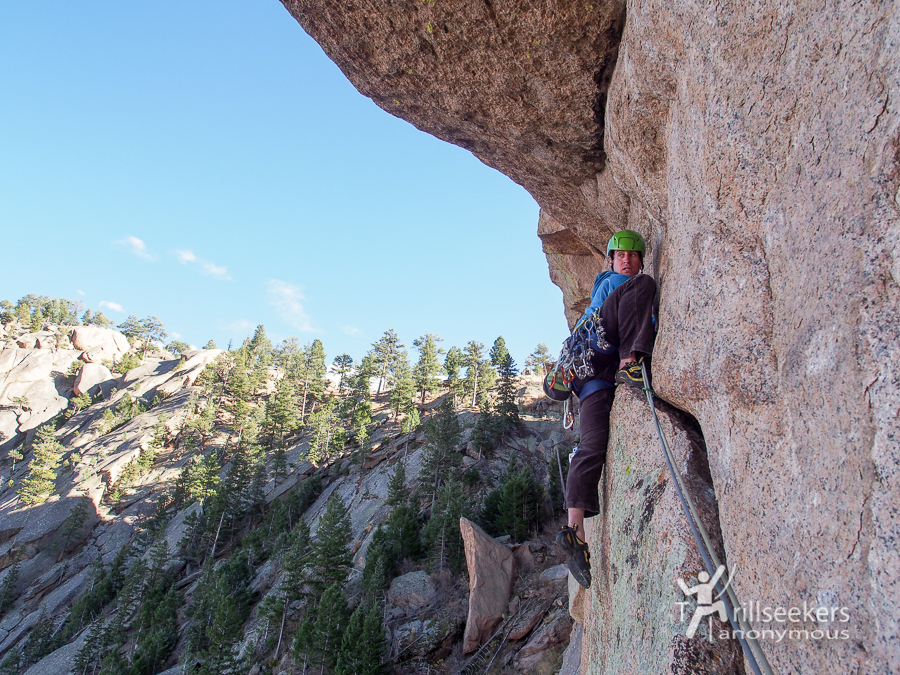 The Pterodactyl Traverse, P5. 'Shock Treatment', Big Rock Candy Mountain - South Platte, CO.