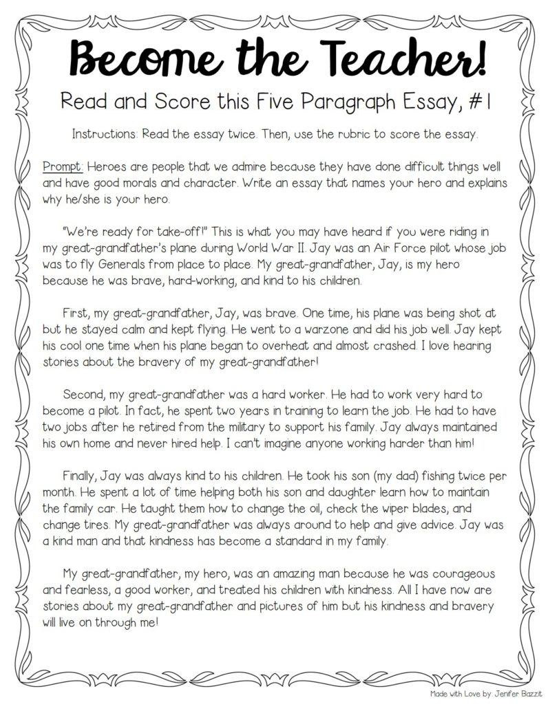 five paragraph essay on my hero