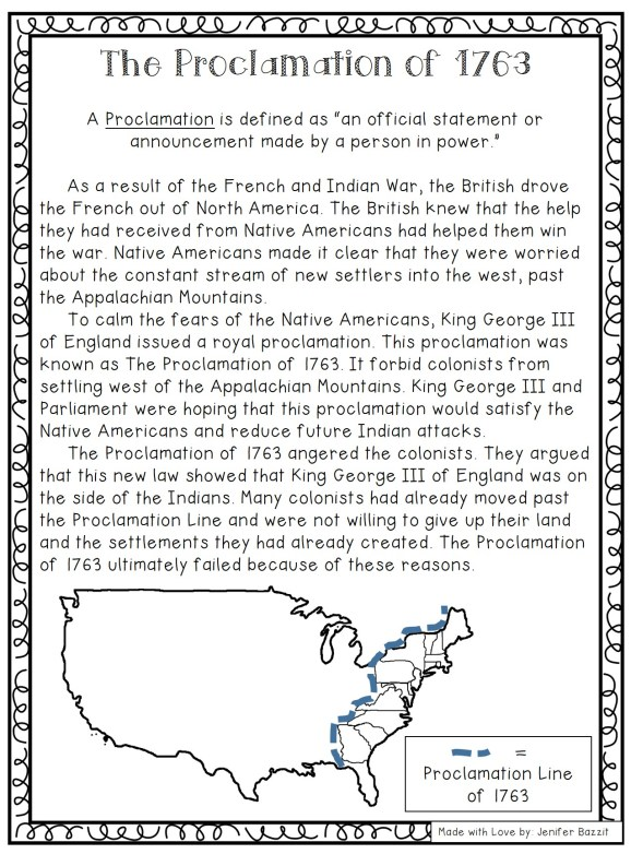 Proclamation of 1763; Road to Revolution; American Revolution activities
