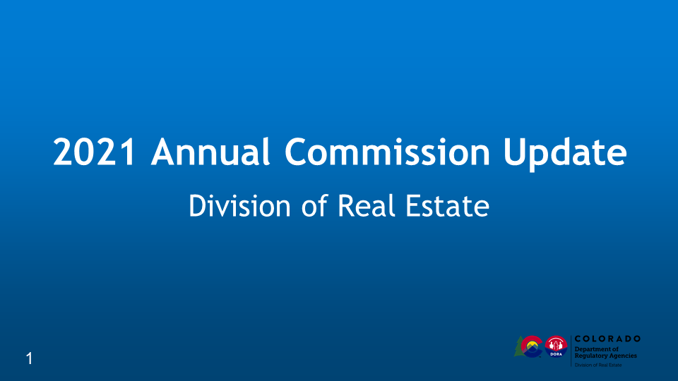 2021 Annual Commission Update (CO#DRE-2021)