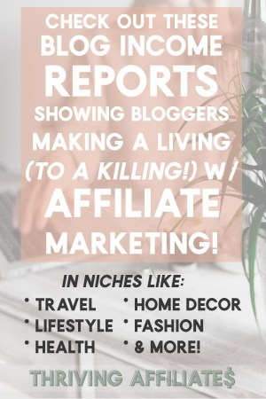 I love reading Affiliate Marketing Income Report round-ups! And this one shows a bunch of different kinds of blogs, all making money with affiliate marketing! #thrivingaffiliates #affiliatemarketing