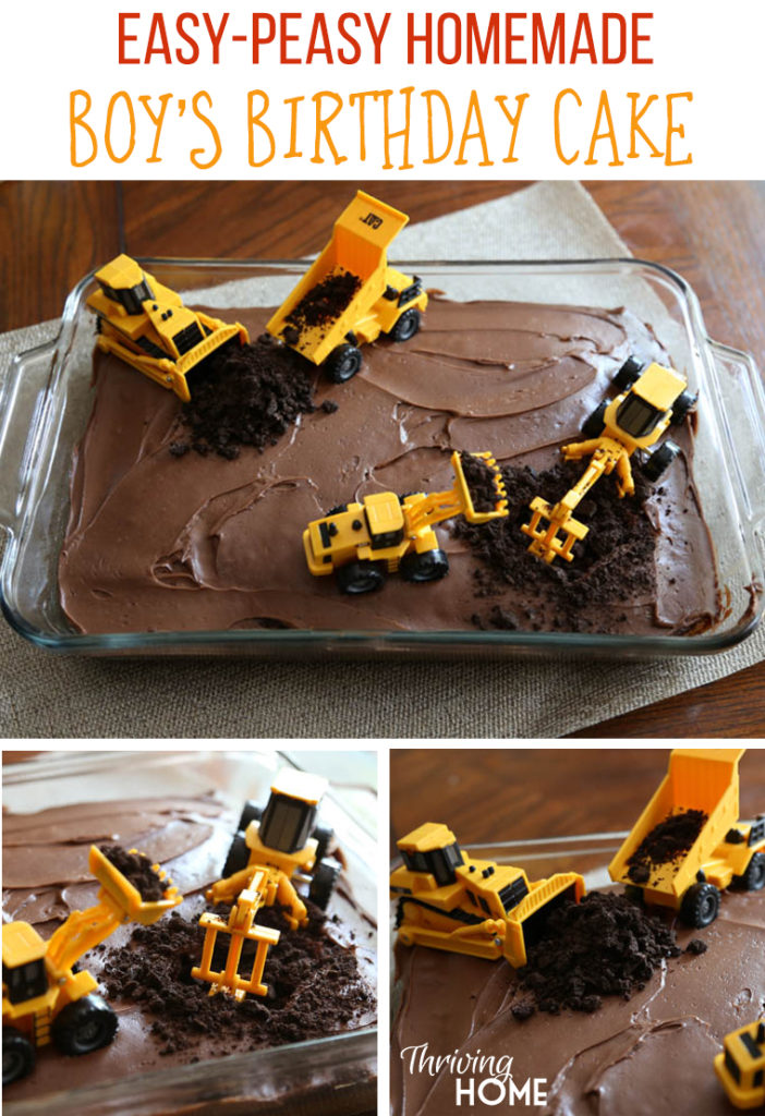 DIY Boys Birthday Cake Construction Party Thriving Home