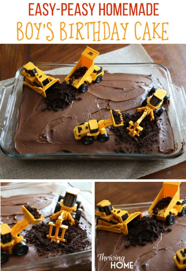 DIY Boy's Birthday Cake-Construction Party | Thriving Home