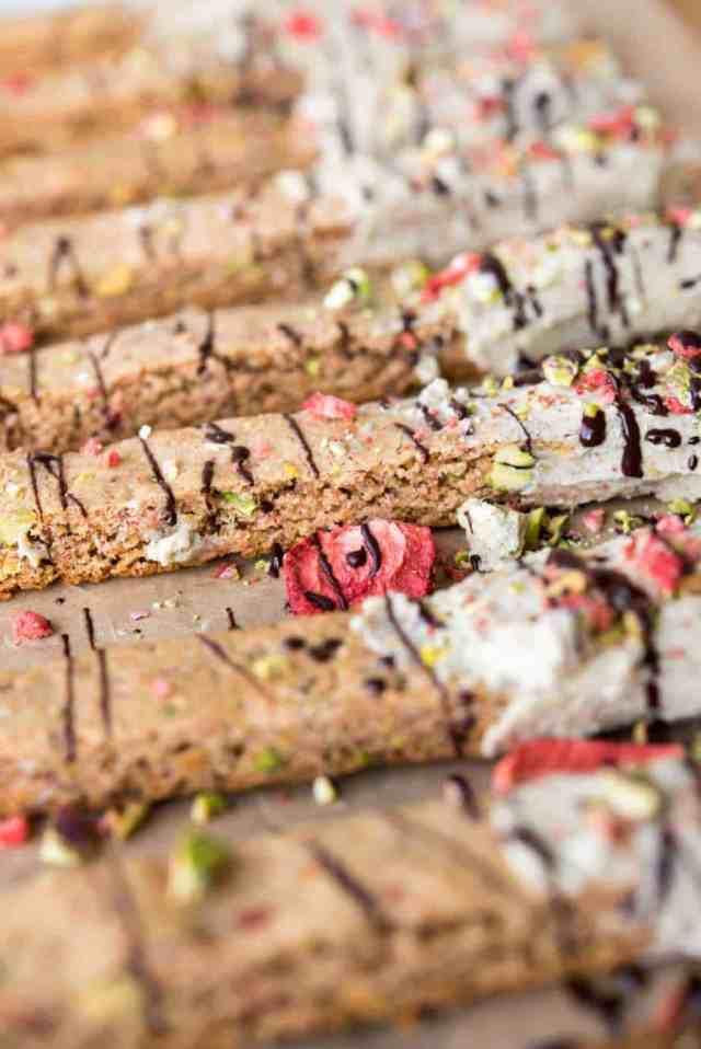 Paleo White Chocolate Strawberry Pistachio Biscotti from Thriving On Paleo #paleo #dairyfree