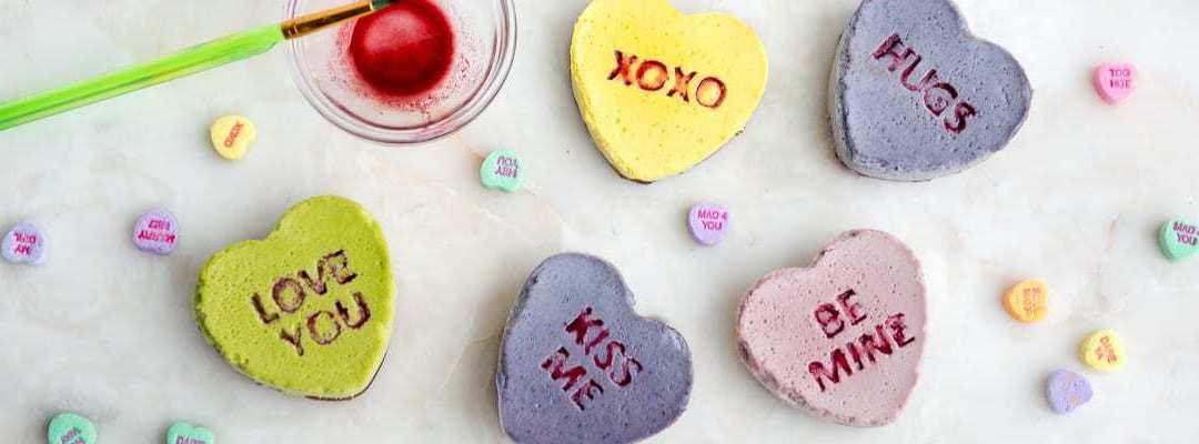 Paleo No-Bake Conversation Heart Cakes (dairy-free, egg-free)