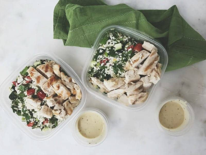 Cauliflower Rice Tabbouleh and Grilled Chicken Breast