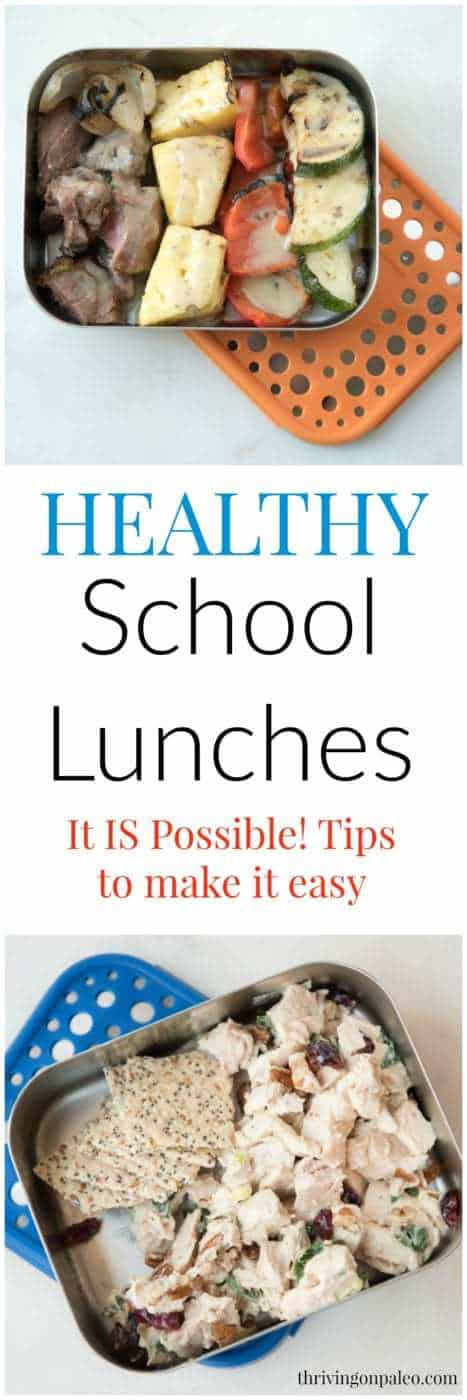 Healthy school lunches - is it really possible without getting overwhelmed with everything else you have to do? In this post I share some lunch ideas as well as all the tips I have to make it easy and prevent burn out. Kids should get healthy food but you shouldn't have to spend all your free time making them. (The ideas I give are for Paleo and gluten-free lunch ideas but the tips work for anyone)