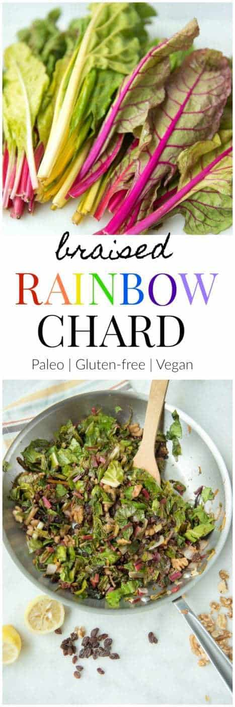 Braised Rainbow Chard - a Paleo, gluten-free, vegetarian, and vegan side dish recipe that uses nature's unicorn veggie. #paleo #gluten-free #vegan #vegetarian #recipe #dairy-free