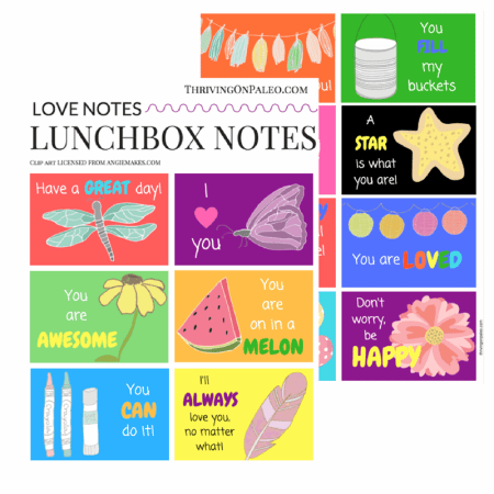 Lunchbox Love Notes - a great way to show your children you love them and to jazz up a healthy lunch