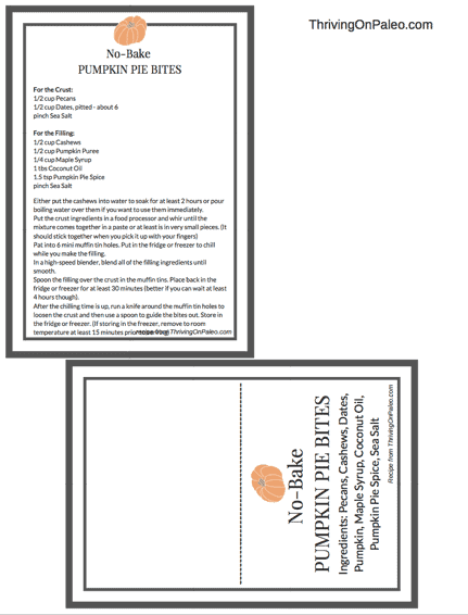 No Bake Pumpkin Bites Recipe card and table tent