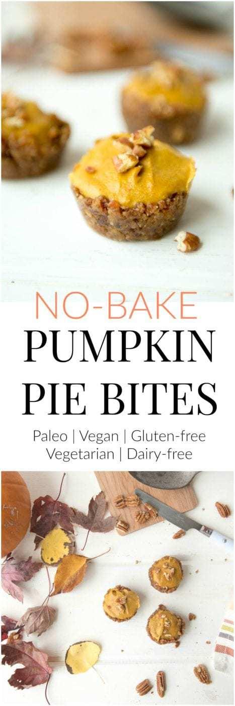 No-bake pumpkin pie bites recipe (Paleo, vegan, vegetarian, gluten-free, grain-free) - #paleorecipes #glutenfreerecipes #paleothanksgiving #paleothanksgivingrecipes