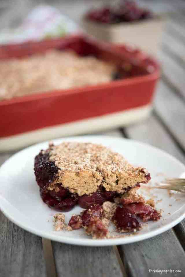 Paleo Cherry Buckle Recipe by Thriving On Paleo ( gluten-free, grain-free ) Great to use with any fruit for breakfast, snack, or dessert!