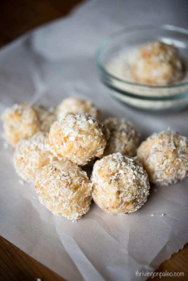 Tropical Snack Balls - a recipe for a raw Paleo and gluten-free snack that is perfect for on-the-go and kids