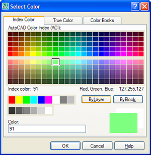 Using standard AutoCAD dialogs to select colors, linetypes ...