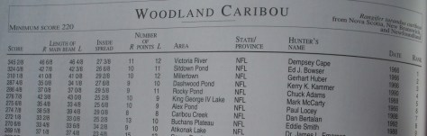 a photo of the top entries for woodland caribou in the 1993 Pope and Young Bowhunting Record Book