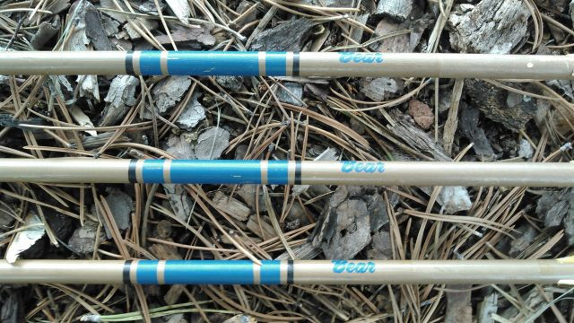 Close-up photo of vintage Arrows by Bear Archery