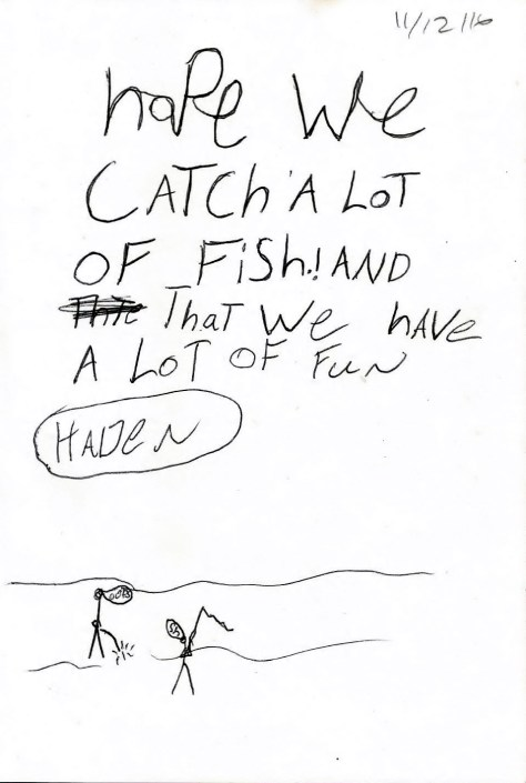 A Child's Gift Inscription and Doodle About Fishing Found In The Angler's Book of Daily Inspiration: A Year of Motivation, Revelation, and Instruction