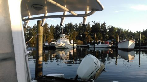 Boats at Rest On An Early Summer Morning At The Maritime Marina on Tuckerton Crick, New Jersey