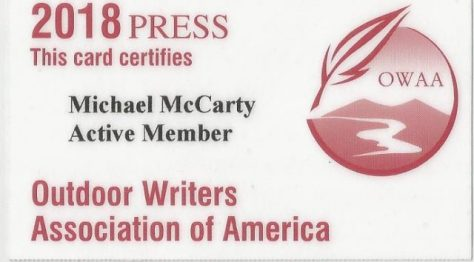 Press Pass Credentials for Michael Patrick McCarty, Active Member of The Outdoor Writers Association of America (OWAA); Publisher of Through a Hunter's Eyes, Rare & Antiquarian Bookseller
