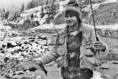 Master flyfisherman Pat Hayes, with a Rainbow Trout Caught on a Flyrod on The Fryingpan River, Near Basalt, Colorado in the Early 1980's