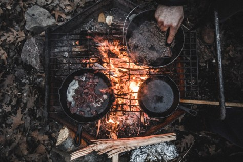 Cooking In A Skillet Over A Hot Campfire