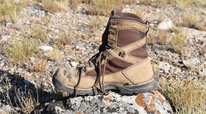 """A Well-Worn 8"""" Pronghorn Hunting Boot, Made By Danner, and Shown On A Bowhunting Trip For Elk in Colorado"""