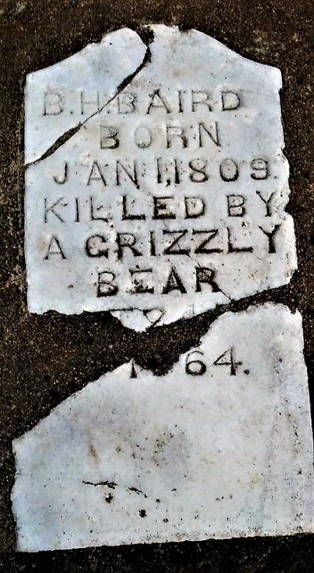 A Grave Marker For Benjamin Harrison Baird, Killed By a Grizzly Bear On Grave Creek NEar the Rouge River in 1864, and Found In Croxton Memorial Park In Grants Pass, Oregon. Posted By Michael Patrick McCarty