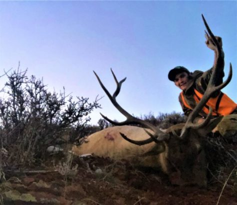 A Big Game Hunter Poses Behind a Trophy Bull Elk, Harvested While Rifle Hunting In Western Colorado
