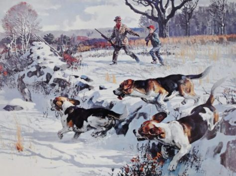 A Young Boy and His Father Race Through The Snow To Get In Position As a Pack of Beagle Hounds Pursue A Running Cottantail Rabbit. A Vintage Lithograph Poster From The Game Art Collection of the Remington Arms Co. Inc. Artist Bob Kuhn. From the Collection of Michael Patrick McCarty