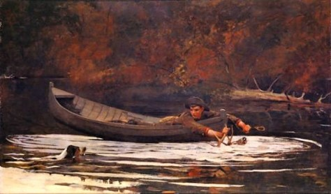Hound And Hunter, Oil On Canvas, 1892. By Winslow Homer. A Scene Inspired by The Adirondack Region of Upstate New York