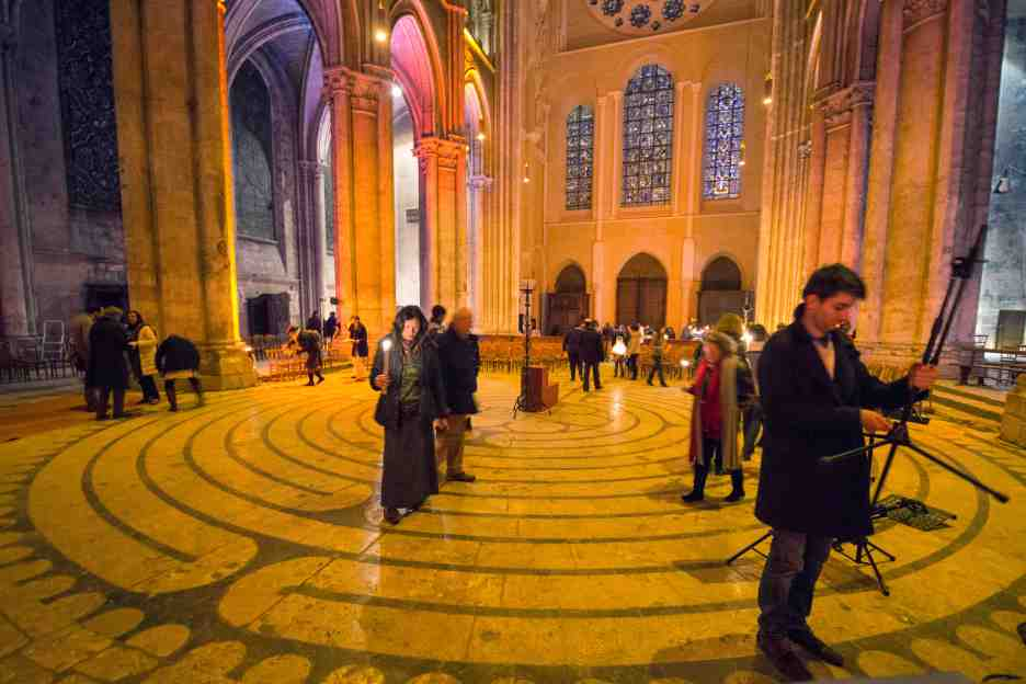 Walking the labyrinth after the liturgy