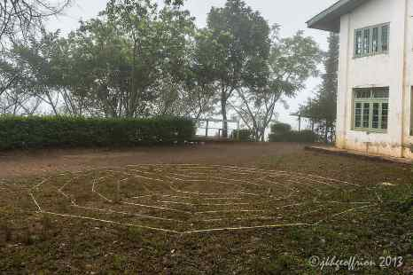 5 circuit Inner Chartres-style yellow plastic string labyrinth