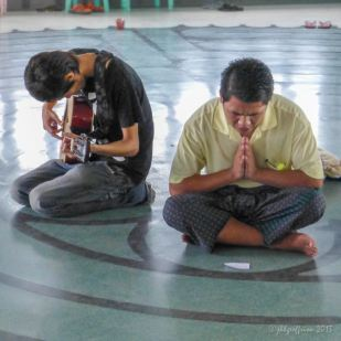 Praying in the center